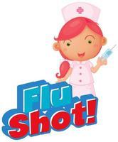 texto de vacina contra a gripe com enfermeira e vacina vetor