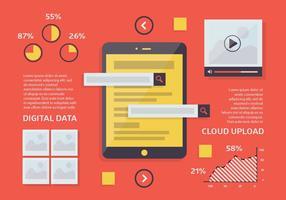Fundo de vetor de Flat Marketing Digital grátis com dispositivo de tela de toque