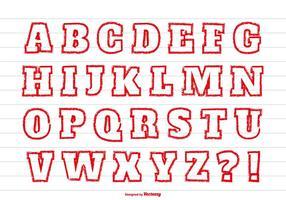 Conjunto de alfabeto de estilo vermelho de lápis de cor vetor