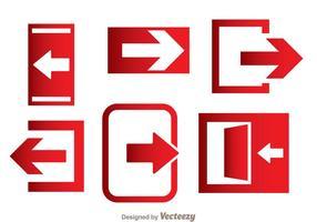 Ícones de direção de saída de emergência vetor