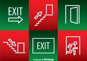Ícones de saltos brancos de saída de emergência vetor