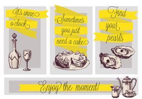 Bolo desenhado à mão livre, vinho, ilustração do chá, fundo do vetor