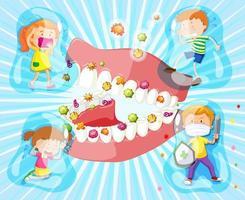 crianças em torno da boca aberta com bactérias vetor