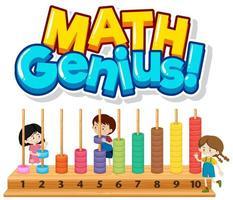 '' gênio da matemática '' com crianças e números vetor