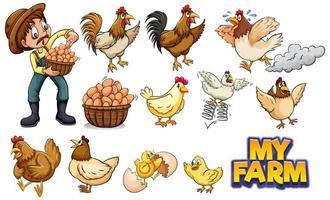 conjunto de galinhas e agricultor vetor