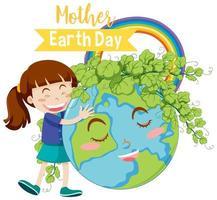 '' dia da mãe terra '' com menina abraçando o globo da terra com folhas vetor
