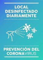 cartaz das instalações desinfetadas diariamente em espanhol.