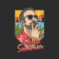 homem de férias tropicais, desfrutando de charuto vetor