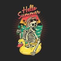 esqueleto curtindo férias na praia tropical vetor