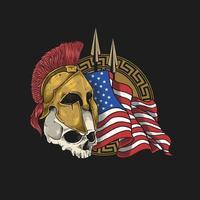 crânio usando capacete espartano com uma bandeira americana
