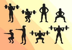 Vetorial de silhuetas de esporte squat vetor