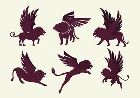 Vetor de silhueta do leão voado