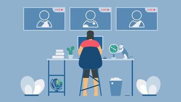 chamadas de videoconferência ao vivo no laptop vetor