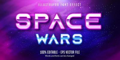 efeito de texto guerra espacial vetor