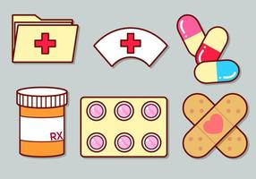 Cute Medical icon set 3 vetor