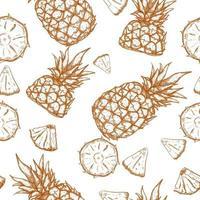 abacaxi mão desenhada sem costura padrão vetor