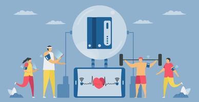 monitor de pressão arterial de braço com módulo sem fio vetor