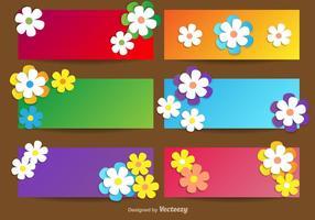 Banners de vetores com flores para temporada de primavera