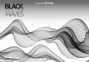 Vetor fundo de ondas lisas pretas