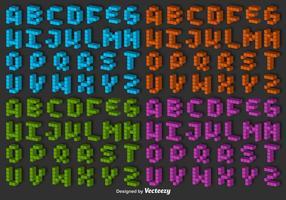 Conjunto de vetores de 3d pixel alfabeto