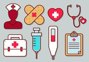 Conjunto de ícones do vetor da enfermeira