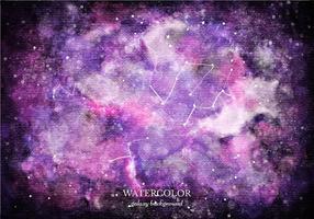 Fundo de galáxia de aquarela roxa do vetor grátis