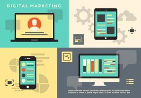 Flat Digital Marketing Icon Coleção Fundo do vetor