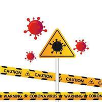 sinal de trânsito cuidado coronavírus com linha de polícia vetor