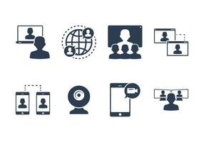 Vetores de ícones de chat e webinar ao vivo