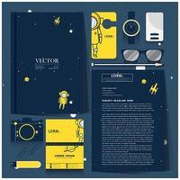 conjunto de identidade corporativa do explorador de espaço azul e amarelo vetor