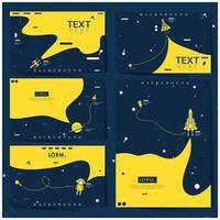 conjunto de plano de fundo azul e amarelo espaço explorador vetor