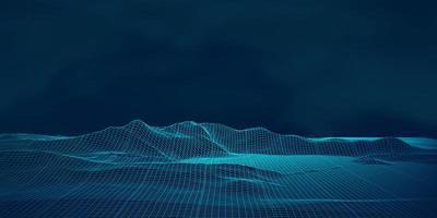 paisagem de wireframe techno digital vetor