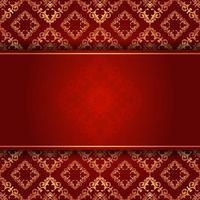 elegante fundo de damasco vermelho e dourado com coypspace vetor