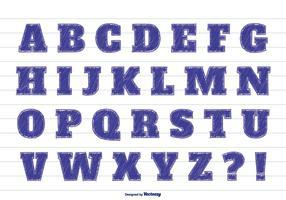 Alfabeto bonito do estilo do marcador vetor