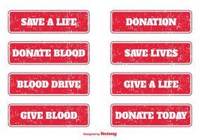 Selos do grunge da doação de sangue vetor