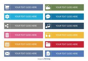 Conjunto de ícones de botão plano vetor