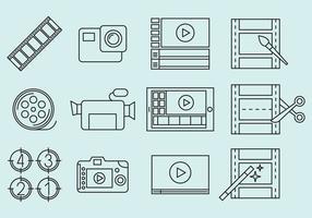 Ícones de edição de vídeo vetor