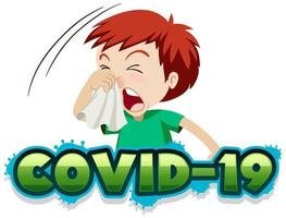 Covid-19 com menino doente espirros vetor