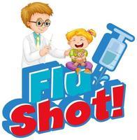 cartaz de vacina contra gripe com médico e menina