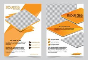 design de folheto de capa laranja vetor