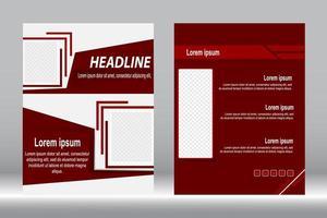 design de folheto de capa vermelha vetor