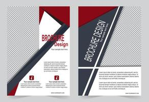 conjunto de informações de brochura de capa vermelha e cinza vetor