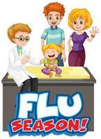cartaz de temporada de gripe com criança e médico