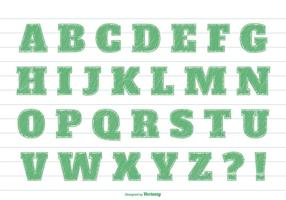 Conjunto de alfabeto de estilo Green Markker vetor