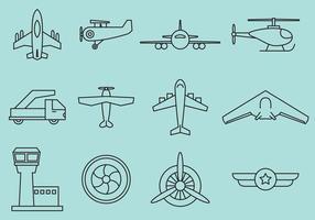 Ícones de linha de aviões vetor