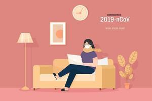 menina mascarada com laptop sentado no sofá vetor