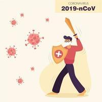 homem mascarado luta covid-19 com espada e escudo vetor