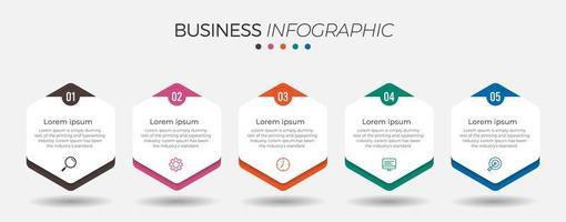 Infográfico de negócios de 5 etapas com hexágonos vetor