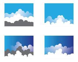 céu azul com conjunto de logotipo de fundo de nuvem vetor