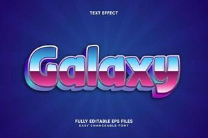 efeito de texto metálico galáxia azul e rosa